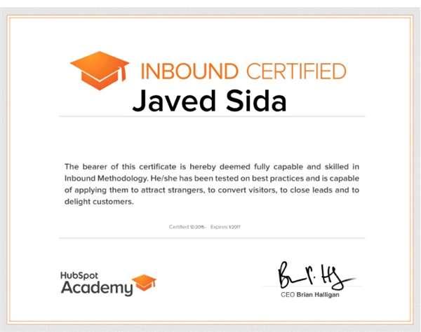 Inbound Certified by Hubspot Academy