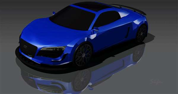 Audi R8 software modelling and rendering