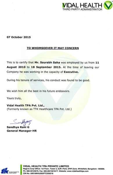Vidal work Certificate