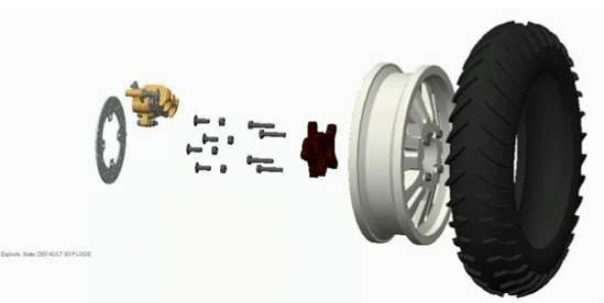 Exploded view of wheel
