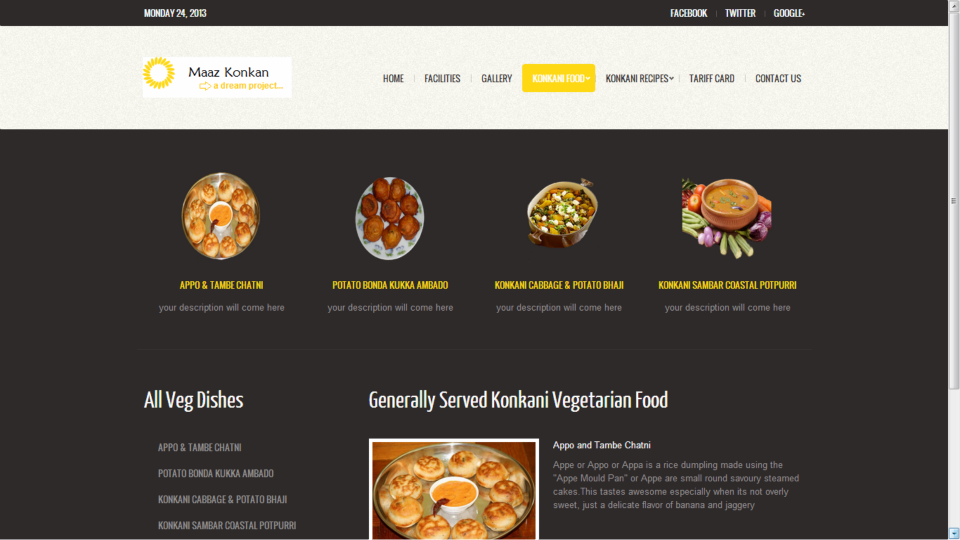 Veg Dishes Page