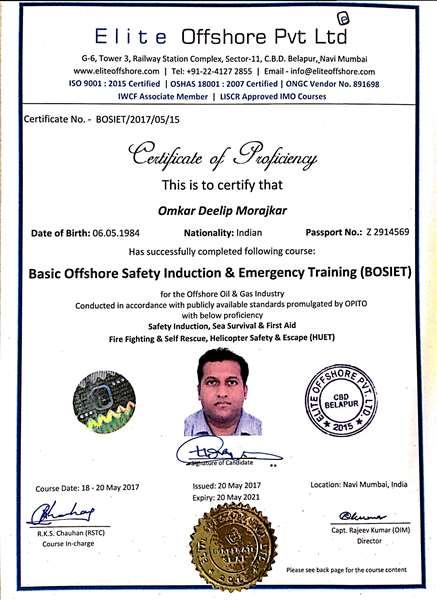 BOSIET-HUET Course Certificate