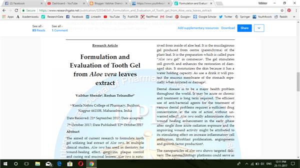 Formulation and  Evaluation of Tooth Gel from Aloe Vera Leaves Extract