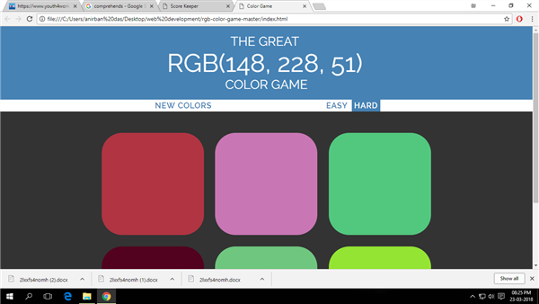 Color Game(R,G,B)