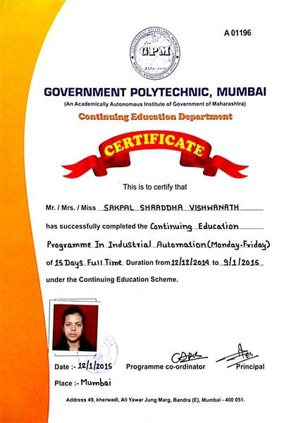 Certification in Industrial Automation
