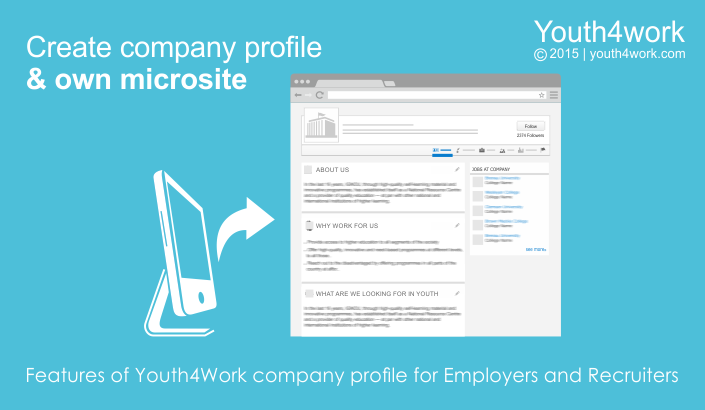 Features of Youth4Work company profile for Employers and Recruiters
