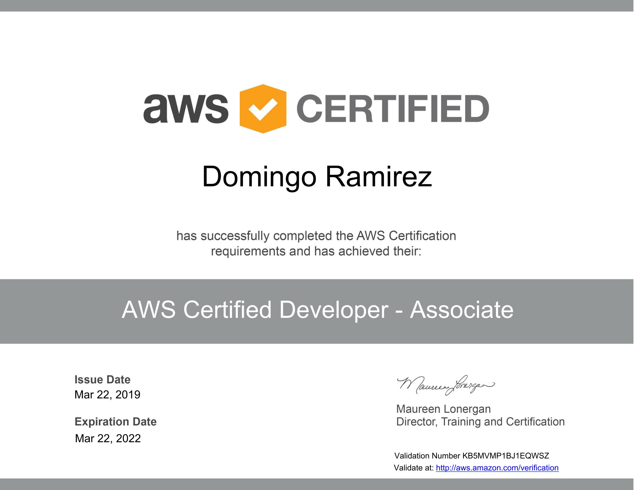 AWS Certified Developer - Associate certificate-1