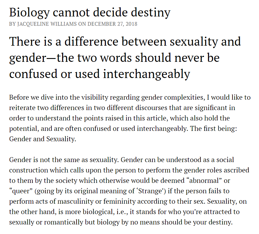 Biology cannot decide destiny by Jacqueline Williams published in the December issue of The Weekly N