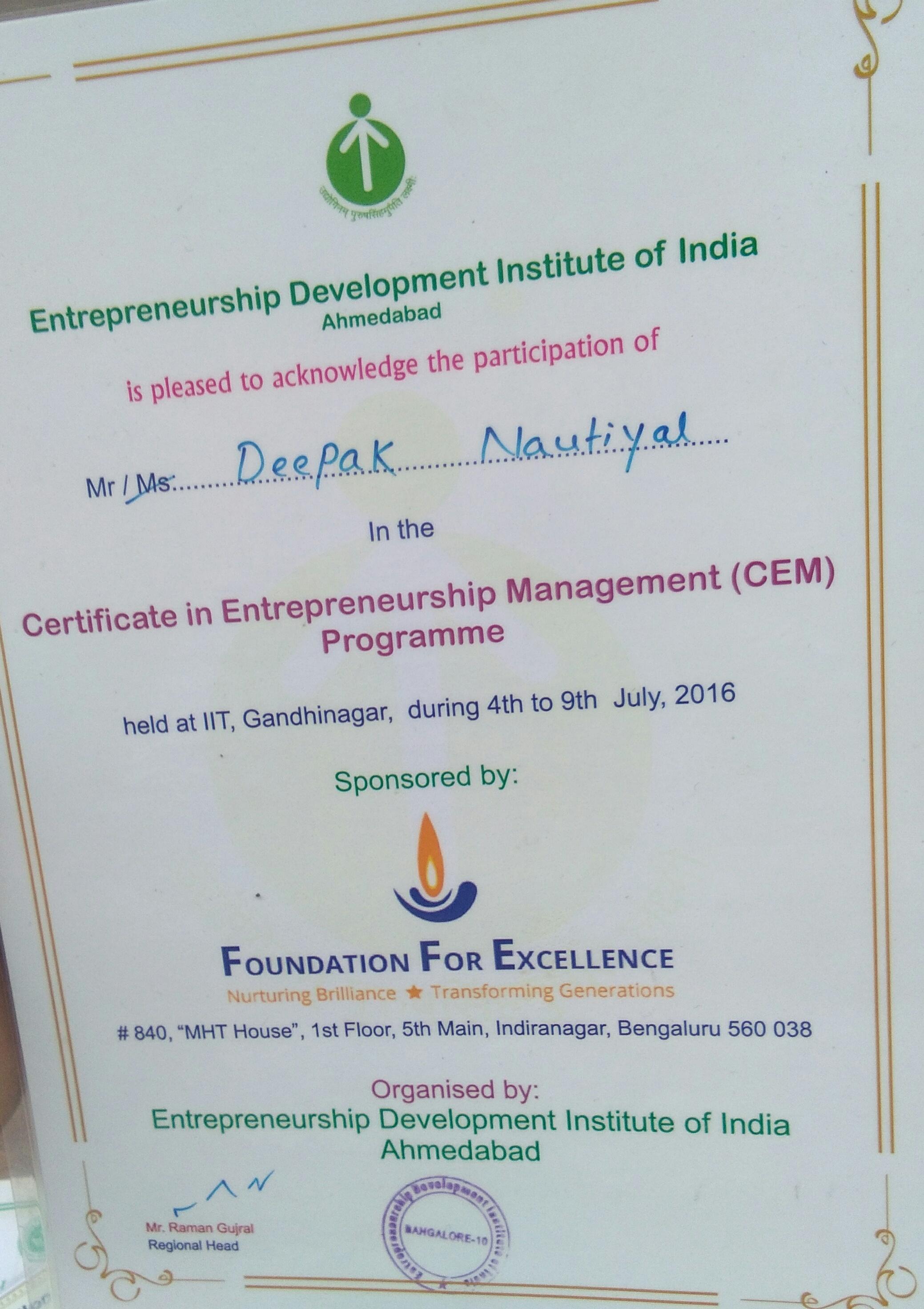 IIT Gandhinager Entrepreneurship programme 2016