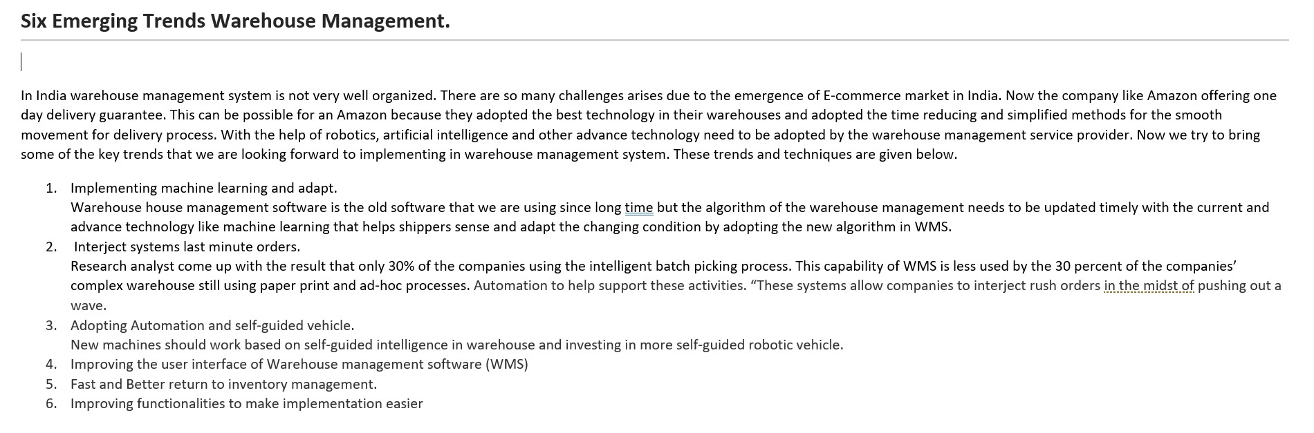 Six emerging trends in warehouse