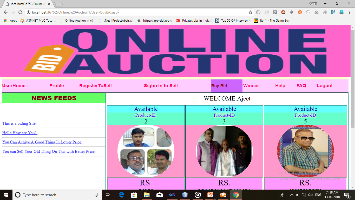 Online Auction College Project