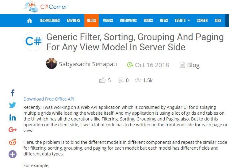 Generic Filter, Sorting, Grouping And Paging For Any View Model In Server Side